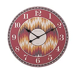 23.75 Fiery Red Yellow and Brown Geometric Patterned Decorative Round Wall Clock
