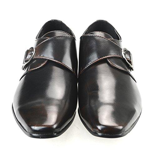 Mm / One Mens Monk Strap Schoenen Oxford Schoenen Jurk Schoenen Effen Teen Dop Schoenen Zwart Zwart Bruin Mpt125-5 Dbr