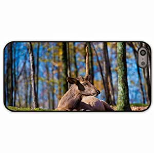 Case For Iphone 6 4.7 Inch Cover Black Hardshell Case deer grass trees sit Desin Images Protector Back Cover