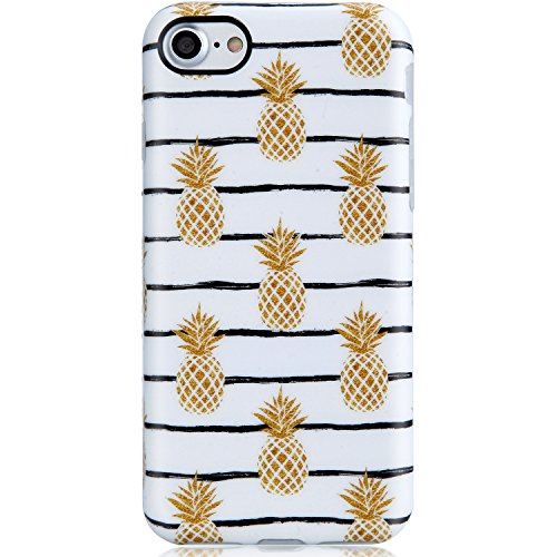 VIVIBIN iPhone 7 Case for Girls,iPhone 8 Phone Case,Cute Pineapple Design for Women Clear Bumper Soft Silicone Rubber Matte TPU Best Protective Cover Slim Fit Phone Case for iPhone 7/iPhone 8