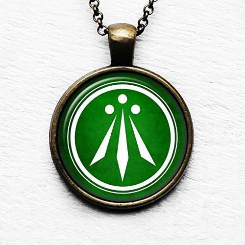 Celtic Symbol - The Awen - Three Rays of Light - White on Green Pendant & Necklace