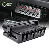 ONLINE LED STORE 6-Gang 12V Rocker Switch Box [60 Amp Max.] [12 AWG Wires][12 Volt DC] SPST On/Off Rocker Toggle Switch Panel Box for Jeep Auto Automotive Lights Car Marine Boat Truck Vehicles & More