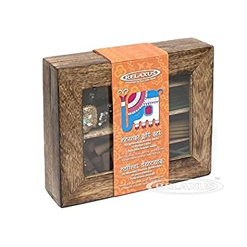 Relaxus Nirvana Incense Gift Set With Decorative Elephant holder in A Wooden Gift Box - Incense Set