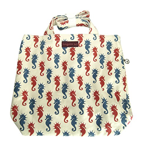 Bungalow 360 Reversible Vegan Tote Bag (Sea (Kangaroo White Handbag)