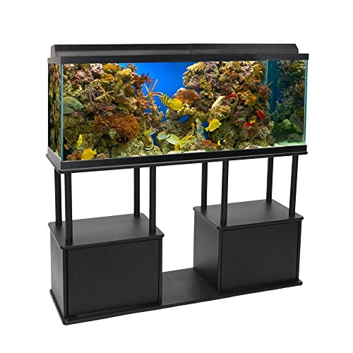 Aquatic Fundamentals Black Aquarium Stand with Shelf - for 55 Gallon Tanks, 14.5 IN -