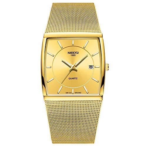 Square Ultra-Thin Dial Calendar Wide Quartz Cuff Wrist Watches Stainless Steel Mesh Strap Fashion Men Watches, Gold