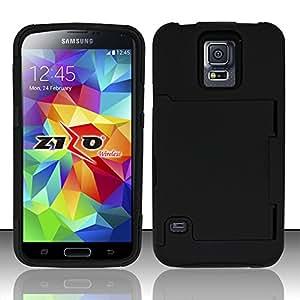 For Samsung Galaxy S5 - Silicon + Rubberized Cover w/ Hidden ID Slot - Black/Black HDID