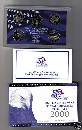 2000-S US MINT 50 STATE QUARTERS BU PROOF SET-5 COINS