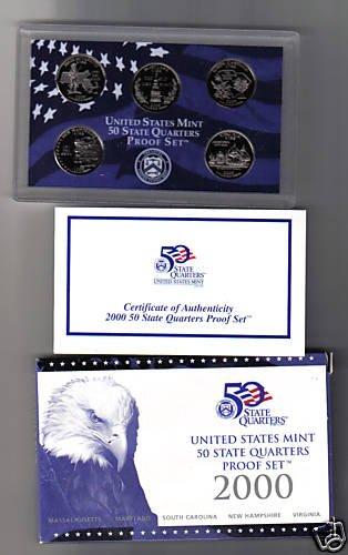 - 2000-S US MINT 50 STATE QUARTERS BU PROOF SET-5 COINS