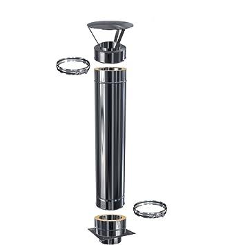 0,5 mm Schornsteinverl/ängerung Kaminverl/ängerung doppelwandig DW 150 H/öhe 2,5 m