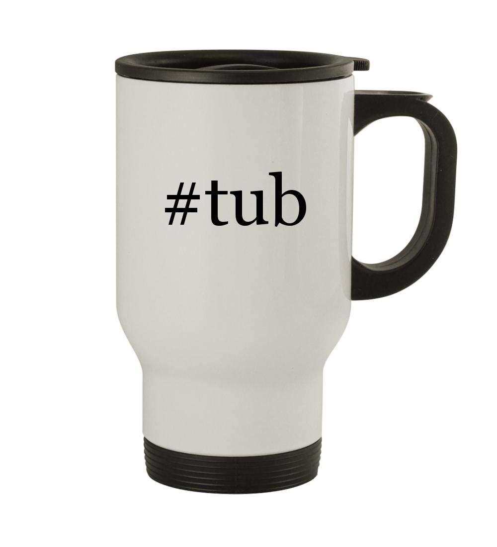 #tub - 14oz Sturdy Hashtag Stainless Steel Travel Mug, White
