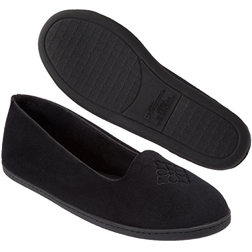 Dearfoams Women's Rebecca Microfiber Velour Closed Back Slipper,Black,M