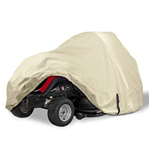 """Porch Shield Heavy Duty 600D Polyester Lawn Tractor Cover, 100% Waterproof Universal Riding Lawn Mower Cover (Up to 62"""" Decks, Tan)"""