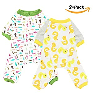 Scheppend 2-pack Dogs Cats Onesie Pajamas Cotton Puppy Rompers Pet Jumpsuits Cozy Bodysuits, Duck Fish M