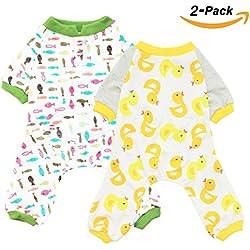 Scheppend 2-pack Dogs Cats Onesie Pajamas Cotton Puppy Rompers Pet Jumpsuits Cozy Bodysuits, Duck Fish S