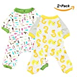 Scheppend 2-pack Dogs Cats Onesie Pajamas Cotton Puppy Rompers Pet Jumpsuits Cozy Bodysuits, Duck Fish XL