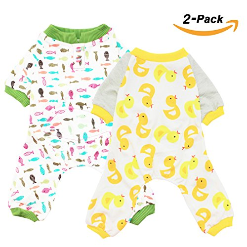 s Cats Onesie Pajamas Cotton Puppy Rompers Pet Jumpsuits Cozy Bodysuits, Duck Fish M (Cozy Dog Pajamas)