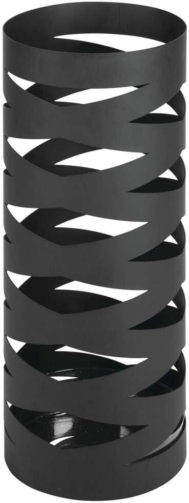 mDesign Parag/üero Moderno Parag/üeros Redondos de Metal Negro Mate Porta Paraguas Decorativo con Bandeja colectora de Agua Soporte para Paraguas y parasoles