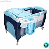 SKEMiDEX---Foldable Baby Crib Playpen Travel Infant Bassinet Bed Mosquito Net Music w Bag This Baby Playpen is a sturdy and durable accessory that will provide your baby with hours of entertainment