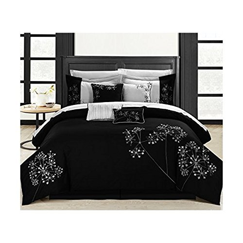 Chic Home Floral 8-Piece Embroidered Comforter Set Complete Embroidery Pattern Bed in a Bag with Bed Skirt and Decorative Pillows Shams, Queen Black