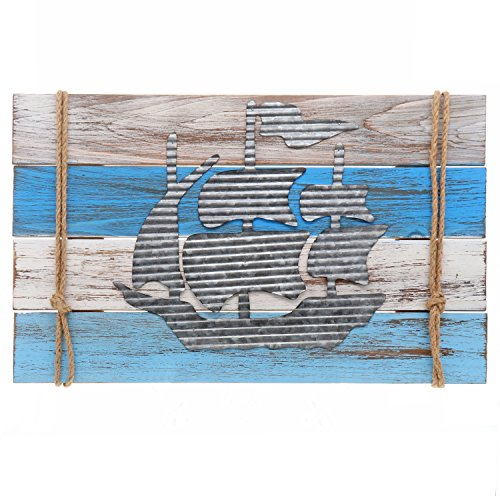 Barnyard Designs Nautical Wooden Plaque with Sailor Rope and Corrugated Sheet Metal Sailboat Cutout, 22