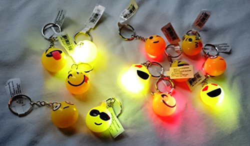 12 PCS Light-Up Emoji Jelly Rings Emoticon Flashing LED