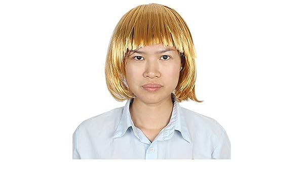 Amazon.com: eDealMax Corta de las señoras Corte Recto postizo tono Plano Pelo de las explosiones peluca de Oro: Health & Personal Care