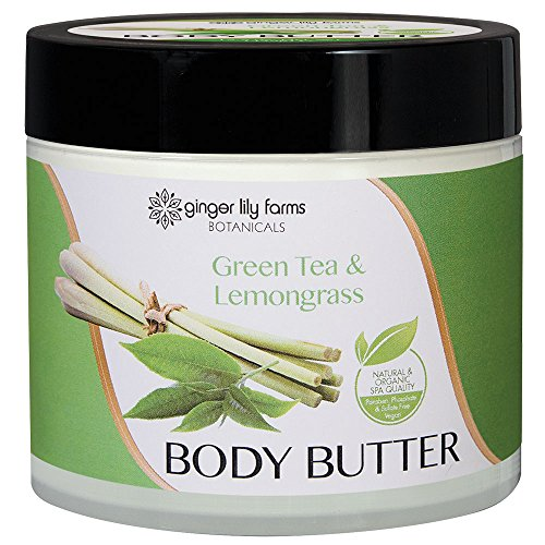 Ginger Lily Farms Botanicals Body Butter Green Tea & Lemongrass, Hydrates, Softens and Heals Skin, 15.5 Ounces