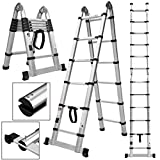 12.5ft 330 Pound Capacity double side Aluminum Telescopic Extension Ladder Certified Extendable Telescoping Ladder with Finger Protection and Spring Loaded Locking Mechanism Non-slip Ribbing
