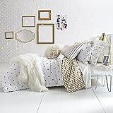 Cotton Sateen Reversible Comforter Chic Gold Polka Dot Print on Crisp White Set (TWIN/XL TWIN MINI COM SET)