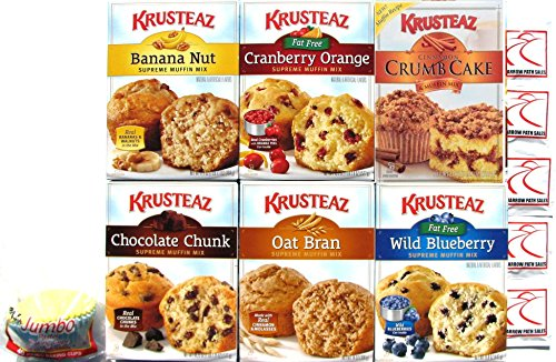 Krusteaz Supreme Muffin Mix Variety Pack + Jumbo Baking Liners + Sanitizing Hand Wipes. Cinnamon Crumb Cake; Wild Blueberry; Chocolate Chunk; Banana Nut; Cranberry Orange; Oat Bran. Bundle of 6.