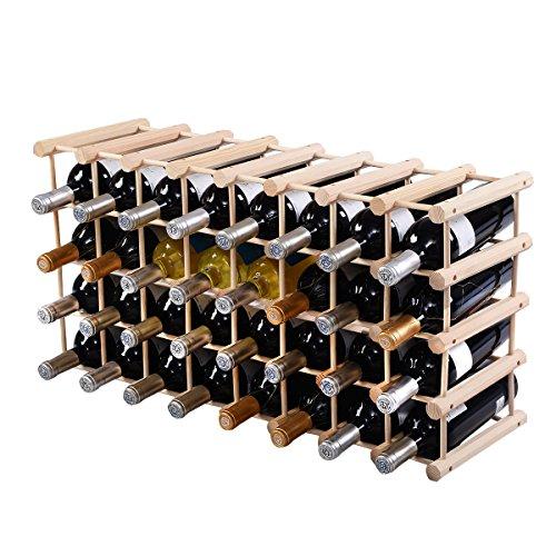 (Giantex 40 Bottle Wine Rack Wine Bottle Display Shelves Wood Stackable Storage Stand Wobbly-Free Wine Bottle Holder Organizer for Home Kitchen, Bar, Wine Cellar, Basement, Free Standing Bottle Rack)