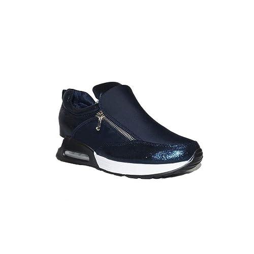 BENINI SHOES SNEACKER Air CUÑA A6161 Zapatillas Urbanas Mujer Cuña Azul Plataforma Bambas Casuales Elegantes de Vestir: Amazon.es: Zapatos y complementos