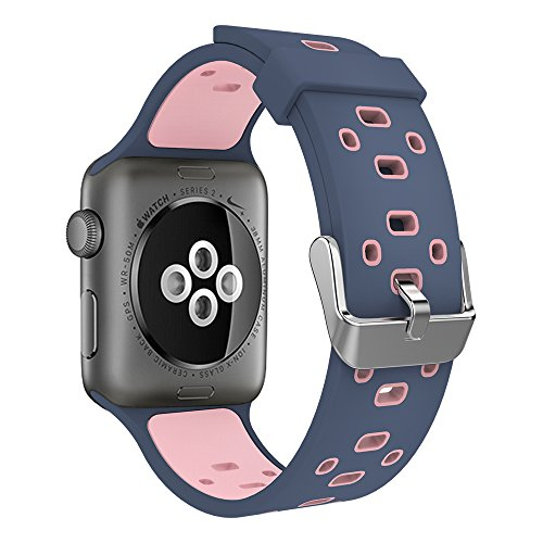 peak Apple Watch Band 38mm, Soft Silicone Replacement Wristband Sports Strap with Buckle for Apple Watch Series 1/2/3 (Adaptors Included), Blue/Pink