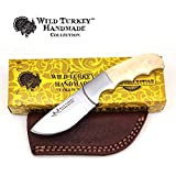 Wild Turkey Handmade Collection Full Tang Bone Handle Fixed Blade Skinner Knife w/Leather Sheath