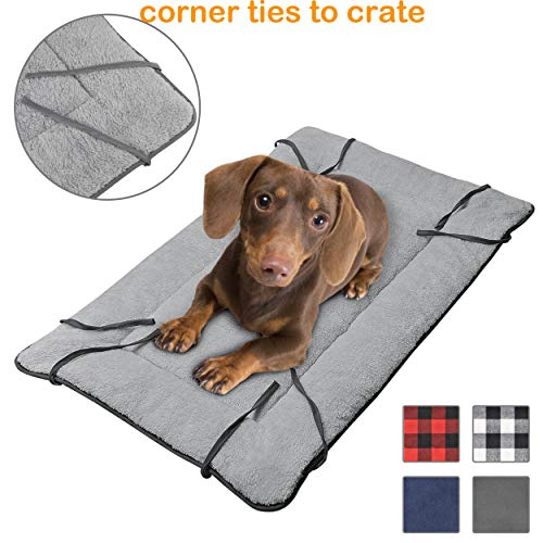 (Dog Cuddler Bed,Washable Crate Pad Mat Blanket,Soft Plush Thick Pet Sofa Kennel Cushion Liner for Small Medium Large Dogs Puppy Cats Blue)