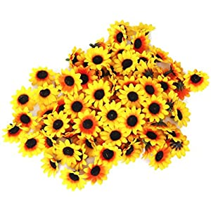 PIXNOR 100x Artificial Gerbera Daisy Flowers Heads for DIY Wedding Party (Yellow Sunflower) 12