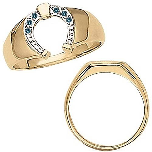 Ladies Ring Diamond Horseshoe (0.05 Carat Blue Diamond Designer Horseshoe Luck Men's Man Novelty Ring 14K Yellow Gold)