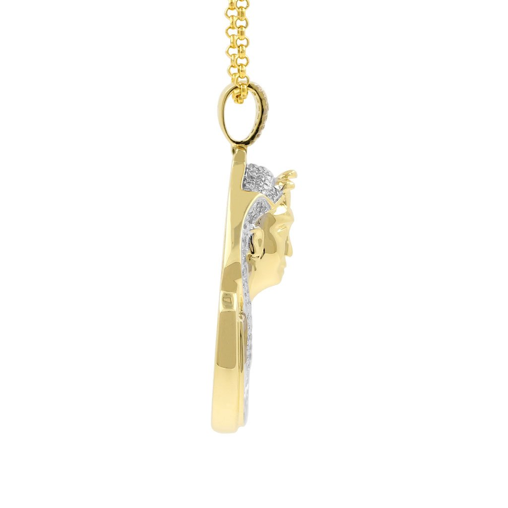 1 Carat Diamond Pharaoh Head Religious Mens Hip Hop Pendant in Yellow Gold Over 925 Silver (I-J, I1-I2) by Isha Luxe-Hip Hop Bling (Image #2)