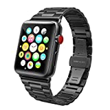 SWEES for Apple Watch Band 42mm Stainless Steel, iWatch Ultra Thin Slim Link with Metal Clasp for Apple Watch Series 3, Series 2, Series 1, Sports & Edition Women Men, Space Gray