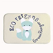 """Easippo Coral Fleece Eco Friends Green Rangers Carpet Super Absorbent Rug Bath Doormat 16""""x14"""""""
