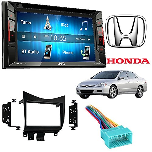 JVC KW-V140BT Double Din in-Dash DVD/CD/AM/FM Stereo + Double DIN Car Radio Stereo Dash Kit Wire Harness for 2003-2007 Honda Accord ()