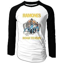 Ramone Road To Run Black Men's Crew Neck Contrast Tee Shirt