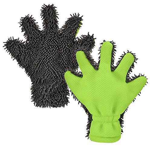 Fontic 5-Finger Dual Wash Mitt,Microfiber Interior & Exterior Cleaning Glove for Car and Motorbike Washing Drying Towels Kitchen Clean Window Cleaning Five Finger Gloves Color in Grey/Green