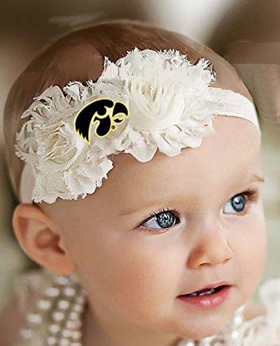 Iowa Hawkeyes Baby/ Toddler Shabby Flower Hair Bow Headband (Newborn - 3 mo./ 13