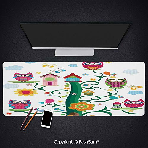 Desk Large Mat Mouse Pads Owls in The Tree with Crazy Eyes Mosaic Dots Magic in The Air Nocturnal Wise Mascot Keyboard Pad for Laptop(W27.5xL11.8) ()