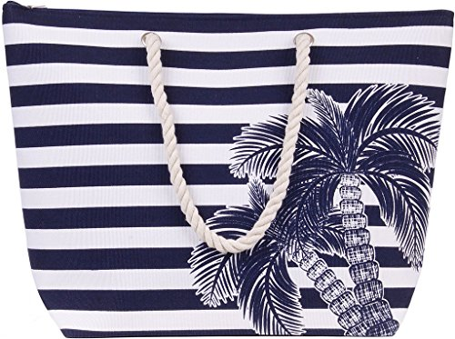 - Beach Tote Bag by Karen Keith Navy Blue Stripes with Palm Tree Zippered Rope Handle Inside Pocket Water Resistant