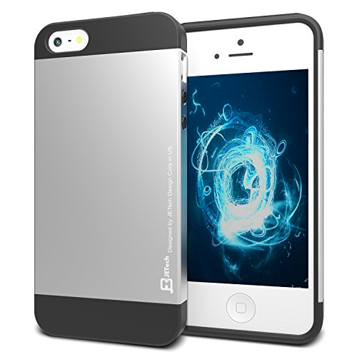 iPhone 5s Case, JETech iPhone 5 5s Case with Aluminum Cover and Protective Silicone Insert for Apple iPhone 5/5S (Silver) -0612 (Iphone 5s Case Inserts compare prices)