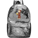 COBOBT Curious George Eat Banana Galaxy School Backpacks Bookbags Daypack Shoulder School Bag Laptop,Unisex Fashion Large Capacity Casual Travel Bag