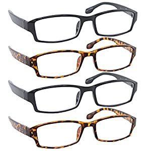 Reading Glasses _ Best 4 Pack_2 Black & 2 Tortoise for Men and Women _ Have a Stylish Look and Crystal Clear Vision When You Need It! _Comfort Spring Arms & Dura-Tight Screws _ 100% Guarantee +1.00